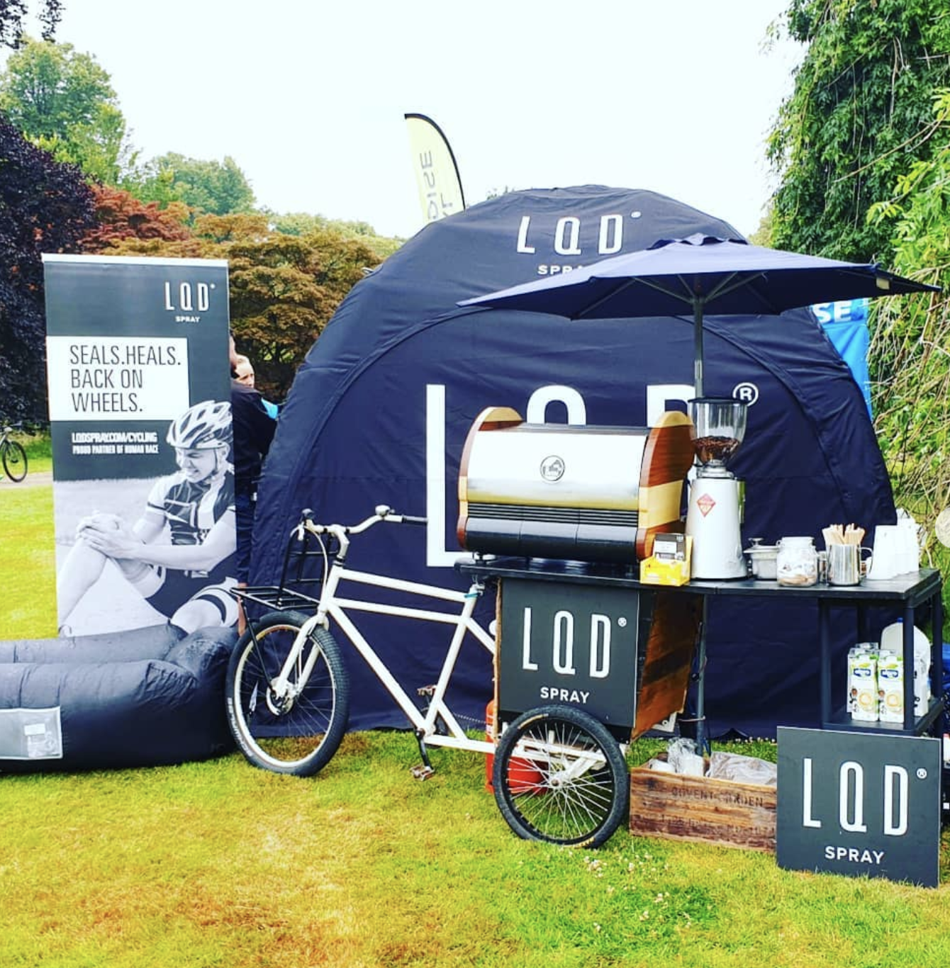 LQD Branding on Trike handlebar barista
